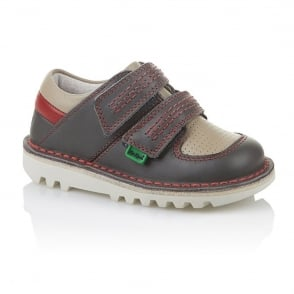 Kickers Sneakerize Lo Infant Dark Grey/Red, Athletic take on the classic Kick Lo