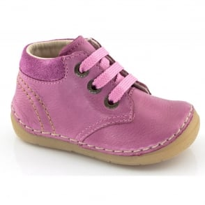 Froddo Mini Lace up boot G2130053-5 Fuchsia, Soft Leather Toddler Shoe