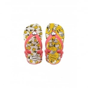 Havaianas Baby Snoopy White, the original flip flop with elastic back strap