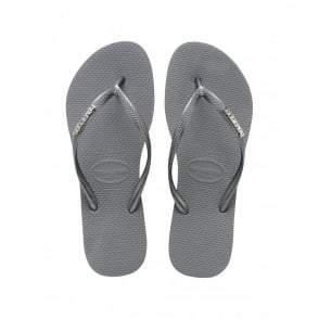 Havaianas Slim Logo Metallic Ice Grey, slim fitting flip flop