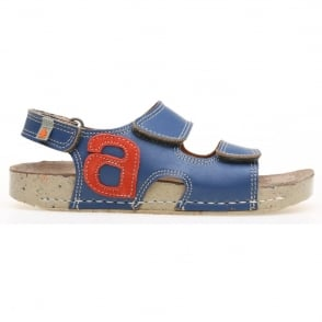 The Art Company kids A420 I Play Vachetta-Lux Suede Blue/Sunset, leather velcro sandal