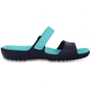 Crocs Coretta Sandal Navy/Pool, Two strap comfort sandal