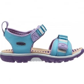 KEEN Infant Riley Blue Grotto/Bougainvillea, a toddler-specific style with easy pull tabs and secure fit