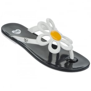 Mel Shoes Mel Flip Flops Flower Daisy, melflex plastic for ultimate comfort