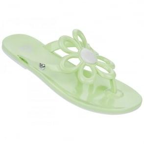 Mel Shoes Mel Flip Flops Flower Mint, melflex plastic for ultimate comfort