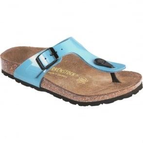 Birkenstock Kids Gizeh Patent Blue 846173, single toe post sandal
