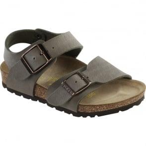 Birkenstock Kids New York Stone 087803, nubuck birko-flor sandal with two adjustable buckle straps