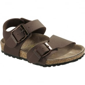 Birkenstock Kids New York Mocca 087783, nubuck birko-flor sandal with two adjustable buckle straps