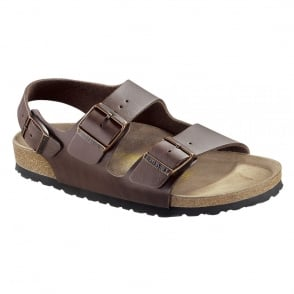 Birkenstock Milano Dark Brown 034701, Birko Flor leather sandal with back strap