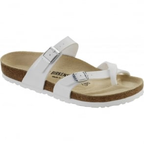 Birkenstock Mayari Nubuck White 071051, Cross-strap, toe loop sandal with an adjustable strap