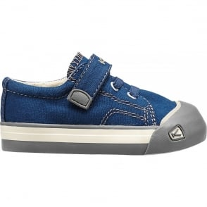 KEEN Kids Coronado Estate Blue/Brindle, a classic canvas sneaker updated style lace up with metatomical footbed