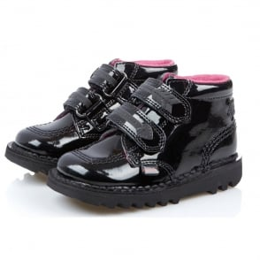 Kickers Kick Arro Infant Patent Black, Patent leather school shoe