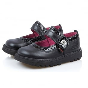 Kickers Kick Brogbar infant Black, leather school shoe
