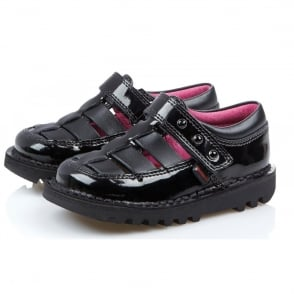 Kickers Kick T Huarche Patent Black, leather school shoe
