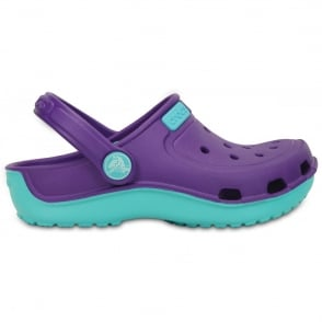 Crocs Kids Duet wave clog Neon Purple/Pool, single sized crocs for more accurate fit