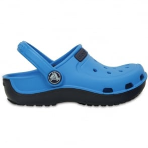 Crocs Kids Duet wave clog Ocean/Navy, single sized crocs for more accurate fit