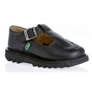 Kickers Kick T Bar Junior Black, iconic school shoe style