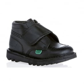 Kickers Kilo Strap Junior Black, school and smart shoe