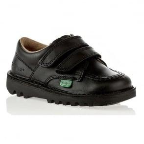 Kickers Kick Lo Velcro Black Junior, Easy on and off school shoe