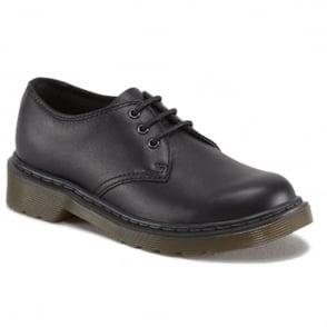 Dr Martens Kids Everley Black, lace up school comfort Shoe