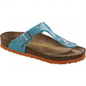 Birkenstock Gizeh Patent Ocean/Orange 745221, The best selling Birkie toe post