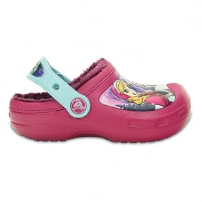 Crocs Kids Frozen Lined Clog Berry, fur lined clog with your favourite Disney Princesses!