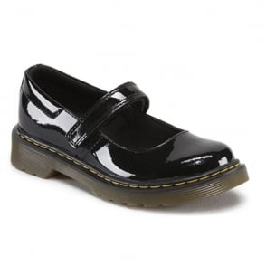 Dr Martens Maccy Patent Junior School MJ Patent Black, patent mary jane school shoe