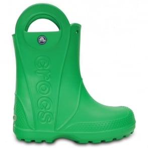 Crocs Kids Handle it Rain Boot Grass Green, Easy on wellington