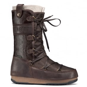 MoonBoot Moon Boots Monaco Mix Dark Brown, Waterproof Iconic Boot