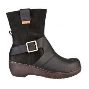 El Naturalista NC77 Boot Tricot Black, Smart boot with buckle detail
