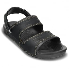 Crocs Yukon 2 Strap Sandal Black/Black, leather sandal with adjustable heel strap
