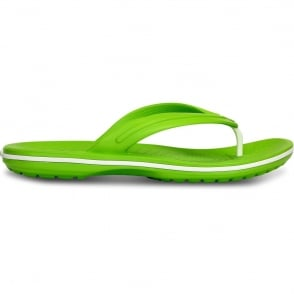 Crocs Crocband Flip Volt Green/White, lightweight comfort with circulation nubs for blood flow stimulation