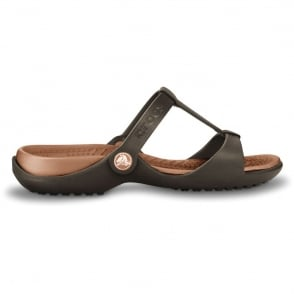 Crocs Cleo III Espresso/Bronze, Croslite t-strap slide, perfect summer sandal