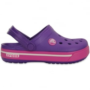 Crocs Kids Crocband II.5 Clog Neon Purple/Neon Magenta, All the comfort of a Classic but with a Retro look