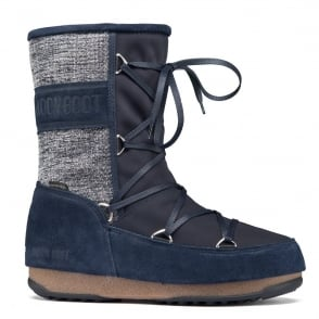MoonBoot Moon Boots Vienna Mix Denim Blue, Waterproof Iconic Boot