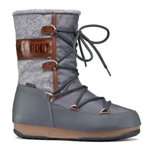 MoonBoot Moon Boots Vienna Felt Grey/Brown, Waterproof Iconic Boot