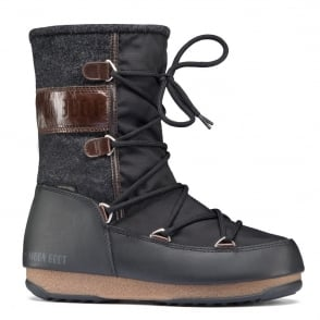 MoonBoot Moon Boots Vienna Felt Black/Dark Brown, Waterproof Iconic Boot
