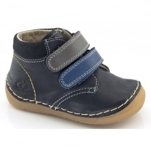 Froddo Minis Velcro Ankle Boot G2130069-8 Multi Blue, leather velcro ankle boot
