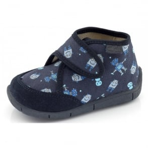 Froddo Slipper G1700085-2 Navy, velcro slipper with robot design
