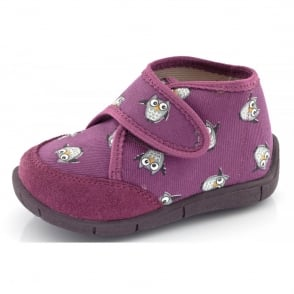 Froddo Slipper G1700085 Fuchsia, velcro slipper with owl design