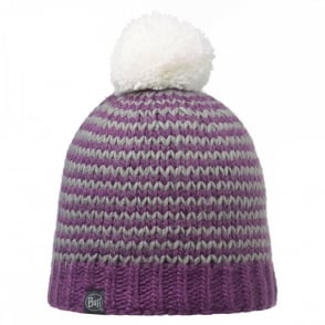 Buff Dorn Hat Plum, Stripy knitted bobble hat with fleece inside