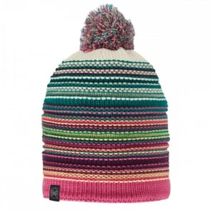 Buff Neper Hat Magenta, Multi coloured knitted bobble hat with fleece inside