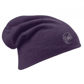 Buff Merino Wool Slouchy Thermal Polar Fleece Hat Plum, ideal for out door activities or to protect from extreme cold weather