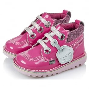 Kickers Kick Hi Colfi Patent Infants Pink 1656293, a funky padded collar take on the original Kick Hi