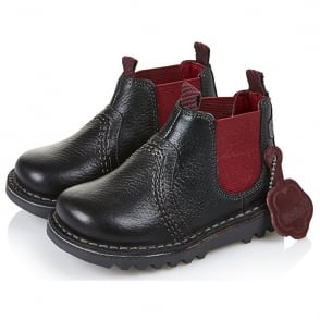 Kickers Kick Chelsea Boot Infant Black/Red 13532, the popular Chelsea boot style for the new generation