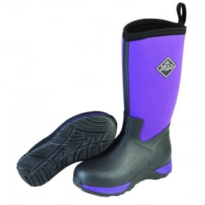 The Muck Boot Company Kids Arctic Adventure Purple/Black, a childrens version of the classic fleece lined winter welly