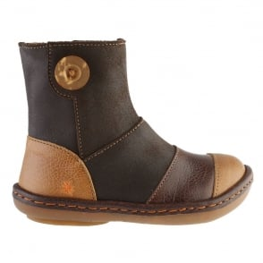 The Art Company A660 Youth/Adult Kio Coffee/Moka, leather ankle boot with side button detail