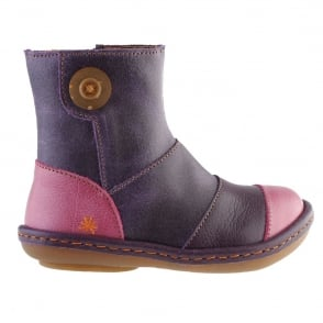 The Art Company A660 Infant Kio Violet/Cereza, leather ankle boot with side button detail