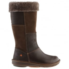 The Art Company A762 Junior Berlin Coffee, tall zip up boot with fur lining