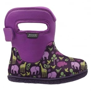 Bogs 717481 Infant Classic Animals Purple, 100% waterproof wellington boots with snuggly warm lining